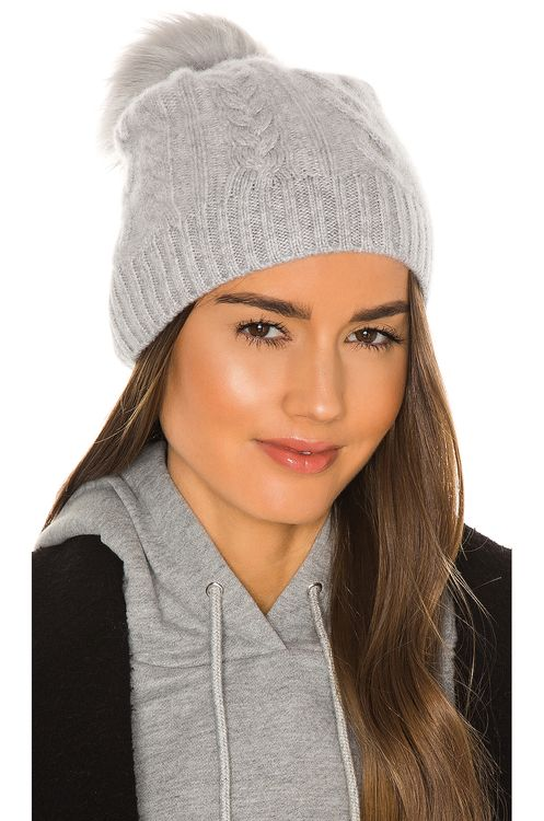 White + Warren Cable Beanie With Faux Pom