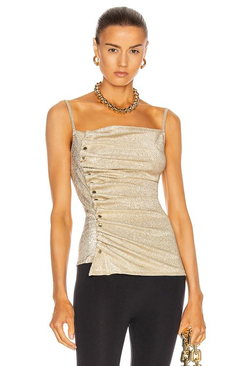 Paco Rabanne Button Down Ruched Top