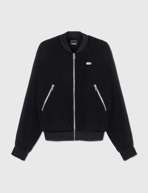 Team Wang Printed Logo Velvet Bomber Jacket