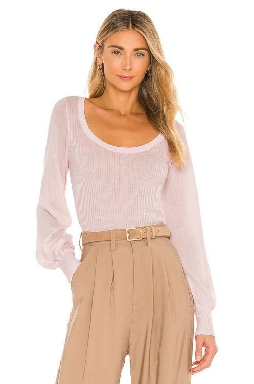 Autumn Cashmere Rib Scoop With Sheer Bishop Sleeves Top