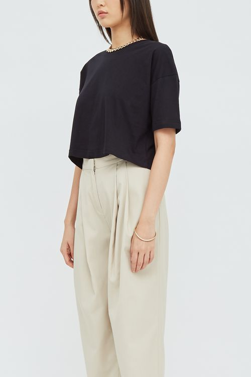 Shopatvelvet Basic Crop T-shirt Black