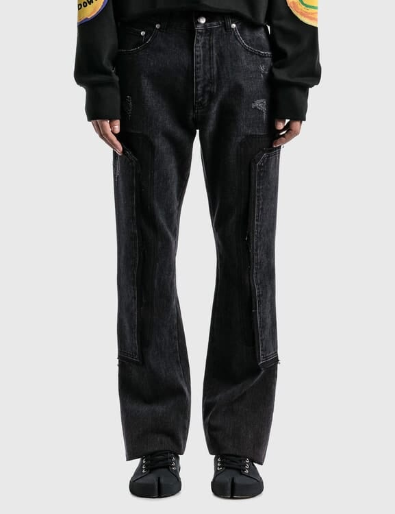 We11done Black Washed Patch Work Jeans