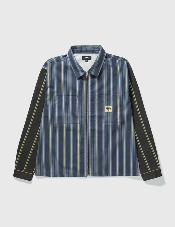 Stussy Mix Stripe Zip Up Work Jacket