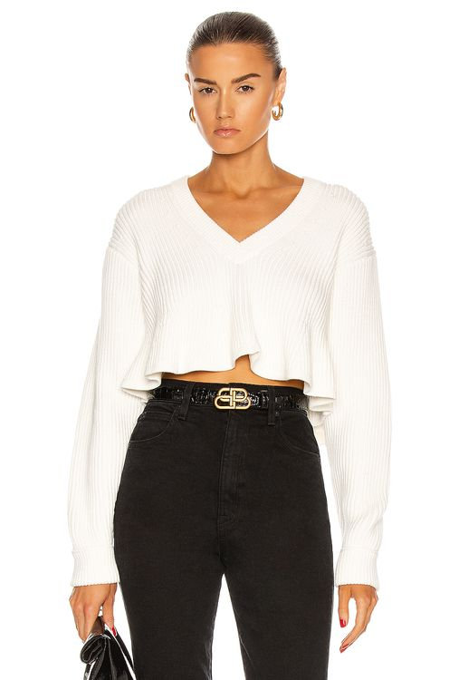 T by Alexander Wang Cropped V Neck Sweater