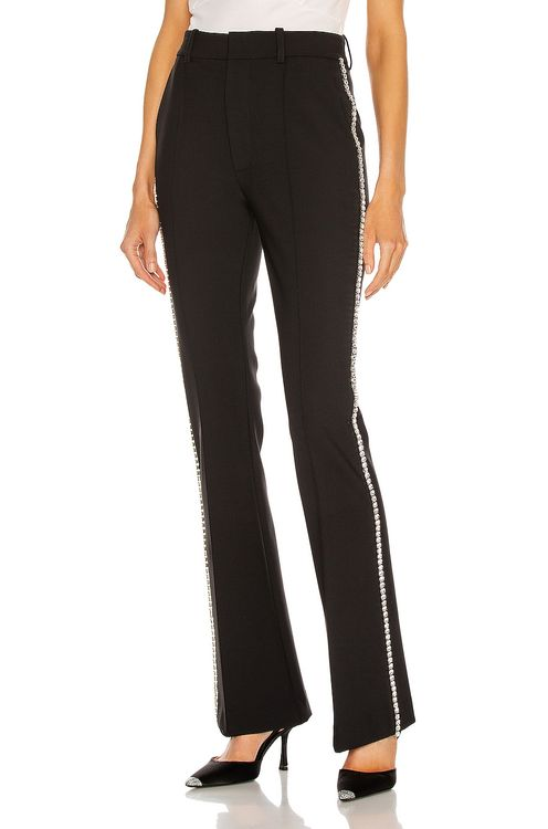 AREA Crystal Stitched Slim Flare Pant