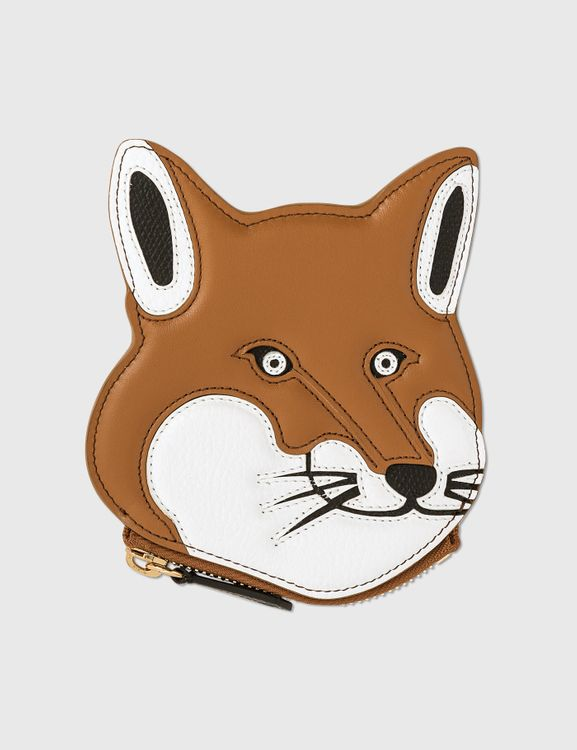 MAISON KITSUNE Fox Head Leather Coin Purse