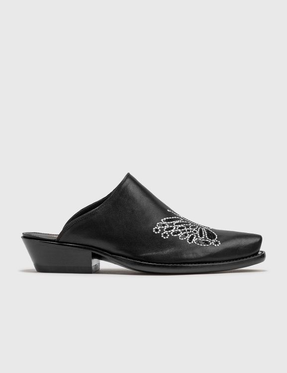 Needles Heeled Papillon Embroidered Mule