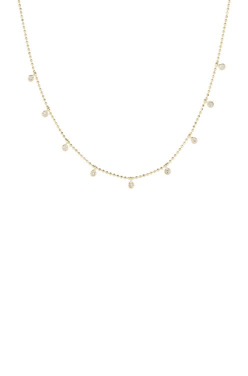 STONE AND STRAND Teeny Dangling Diamond Bead Chain Necklace