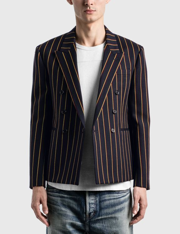Saint Laurent Double Breasted Short Tailored Jacket In Striped Wool Serge