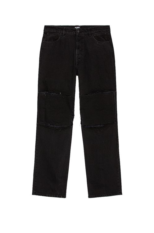 Raf Simons Relaxed Fit Denim Pants With Cut Out Knee Patches