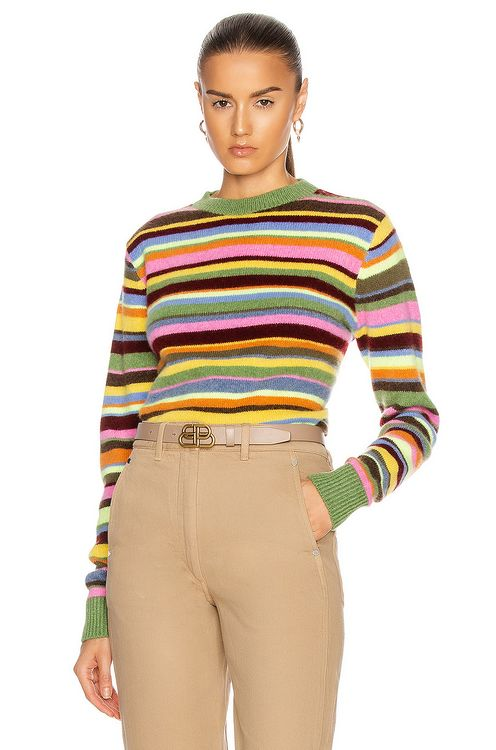 The Elder Statesman Sink Stripe Simple Crew Sweater