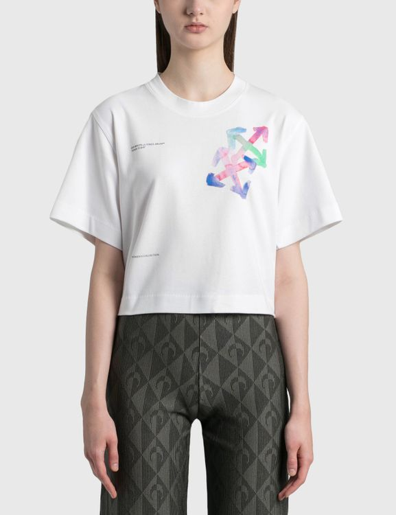 Off-White Watercolor Arrows Cropped T-Shirt