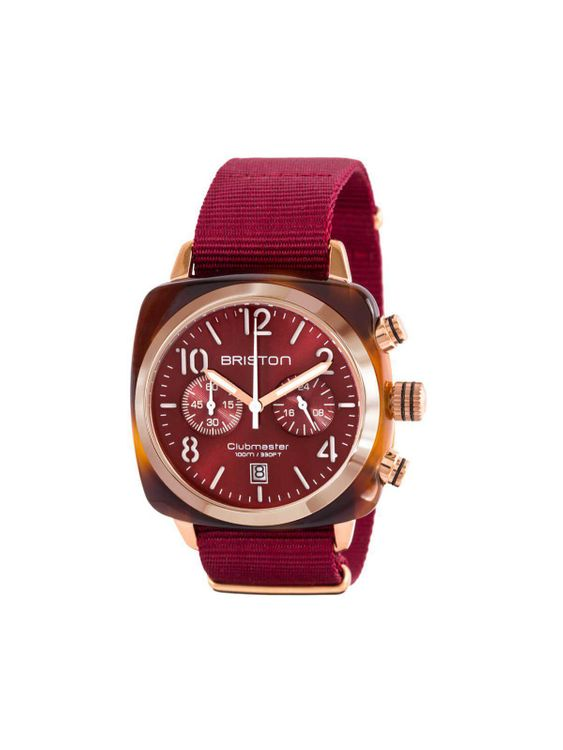 BRISTON Briston Clubmaster Classic Acetate Chronograph Tortoise Shell Gold Red Sunray Dial 40mm