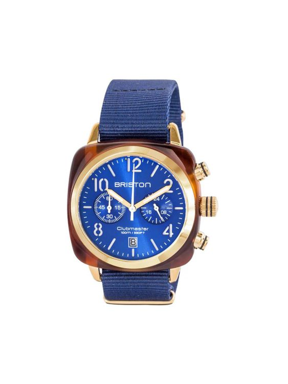 BRISTON Briston Clubmaster Classic Acetate Chronograph Tortoise Shell Gold Blue Sunray Dial 40mm
