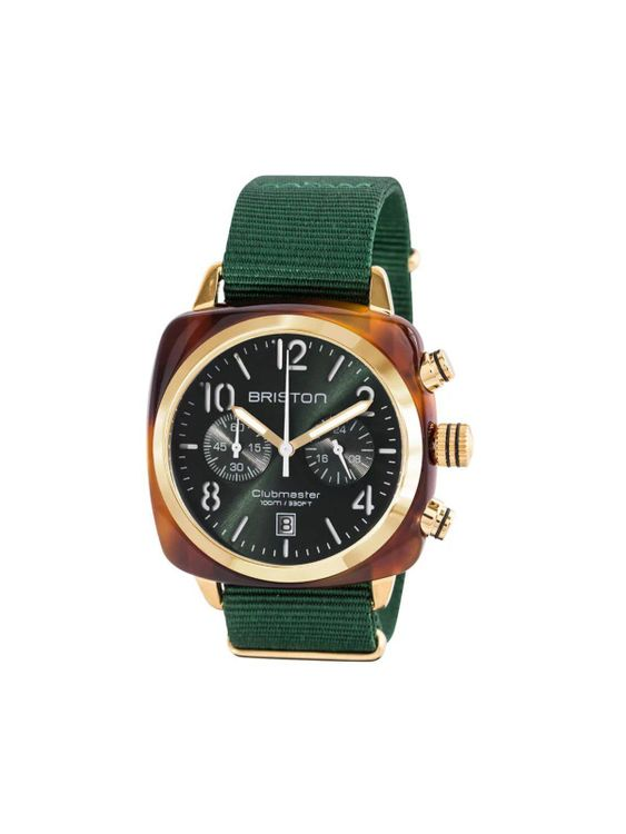 BRISTON Briston Clubmaster Classic Acetate Chronograph Tortoise Shell Gold Green Sunray Dial 40mm