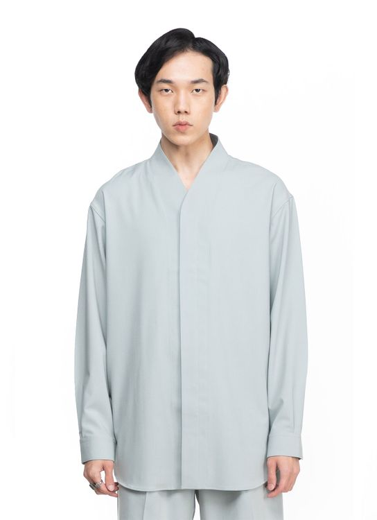 Jan Sober Green Minty Collarless  Part 5 Oversized Shirt