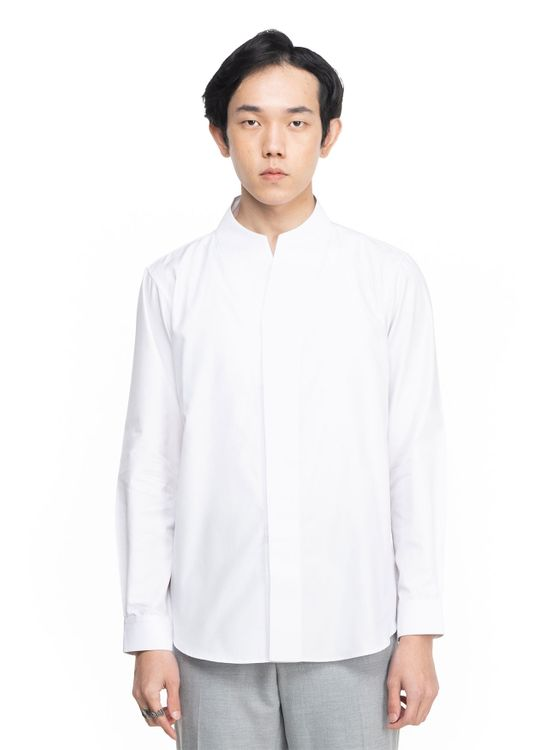 Jan Sober White Collarless Part 1 Long Sleeves Shirt