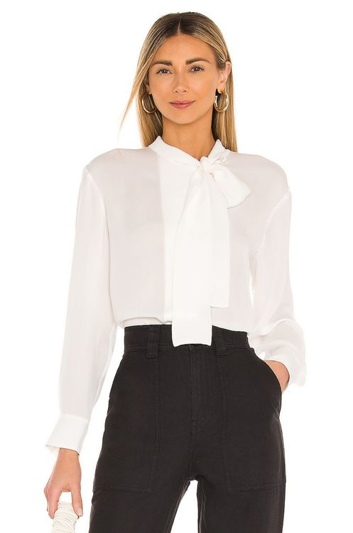 Rebecca Taylor Long Sleeve Georgette Neck Tie Blouse