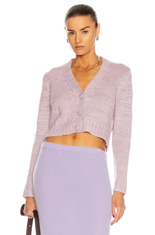 The Elder Statesman Rib Crop Cardigan
