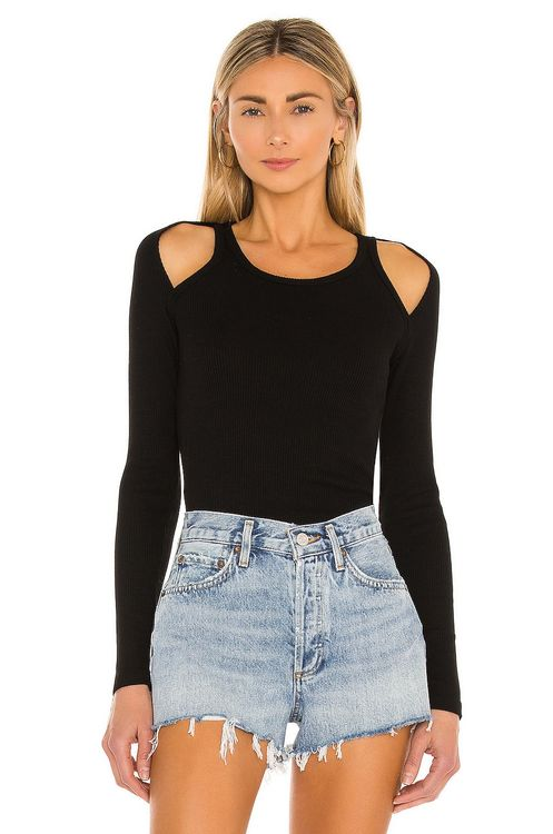 Monrow Cut Out Shoulder Top