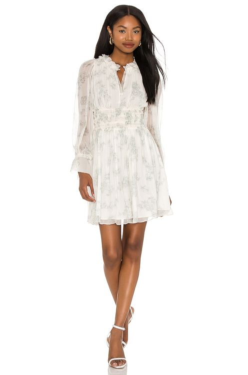 Rebecca Taylor Long Sleeve Toile Fleur Ruched Dress