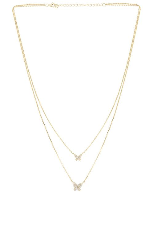 The M Jewelers NY Double Pave Butterfly Necklace