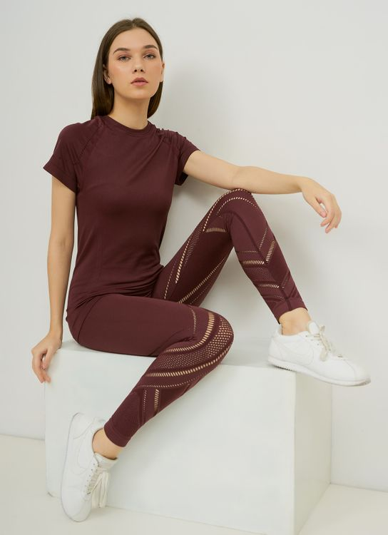 URBN ATHLETICA Seamless Power Knit Legging in Berry