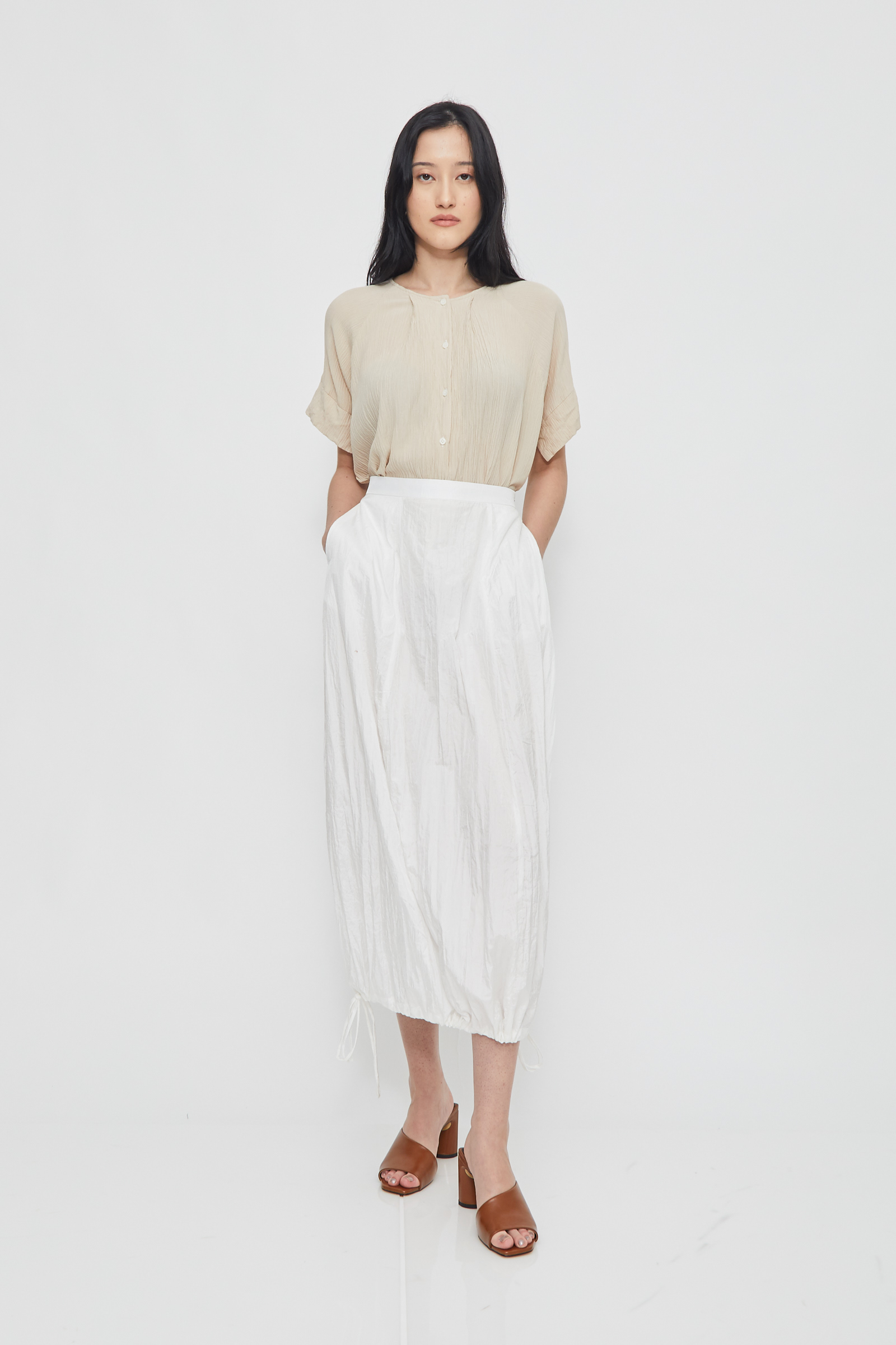 Shopatvelvet Nylon Balloon Skirt White