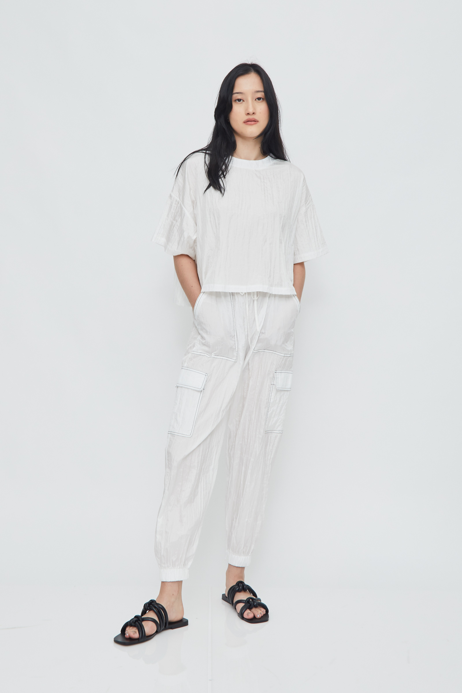 Shopatvelvet Parachute Crop T-Shirt White