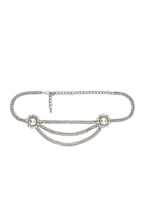 Alessandra Rich Crystal and Pearl Chain Belt