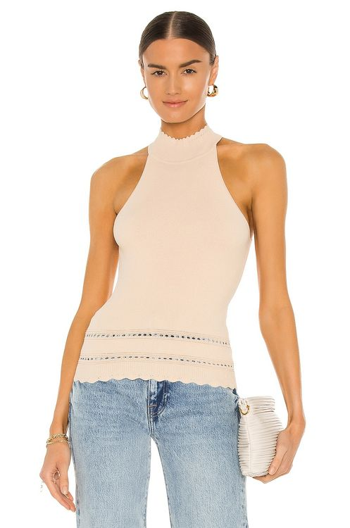 Autumn Cashmere Pointelle Tuck Stitch Bordered Halter Top