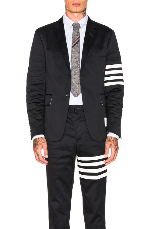 Thom Browne Cotton Twill 4 Bar Unconstructed Jacket