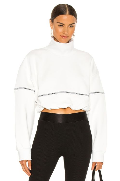 T by Alexander Wang Cropped Bubble Hem Pullover