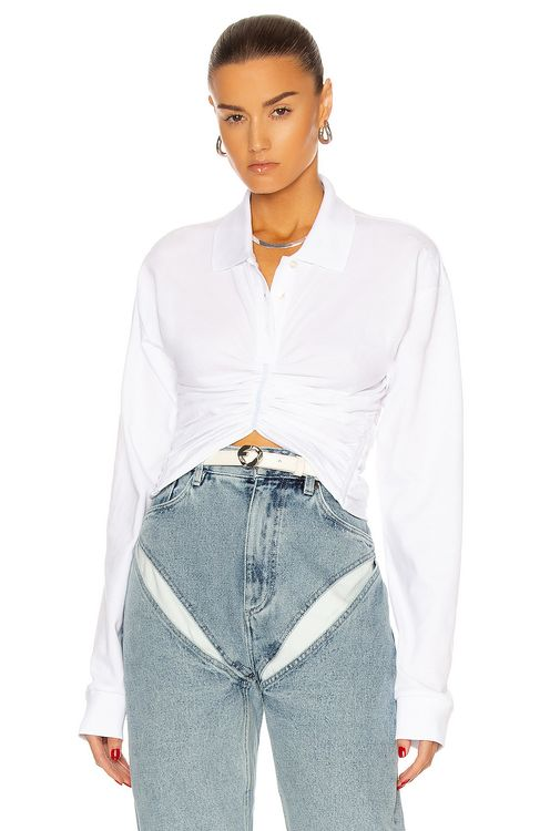 Y PROJECT Ruched Corset Polo Top