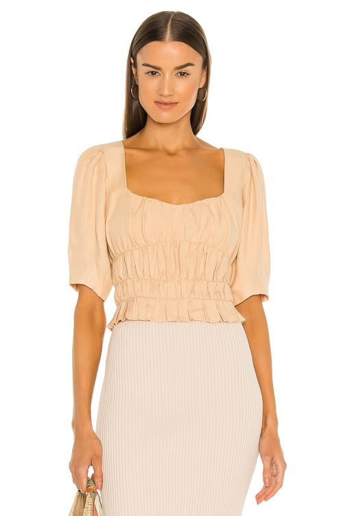 Jonathan Simkhai Adlee Draped Linen Ruched Top