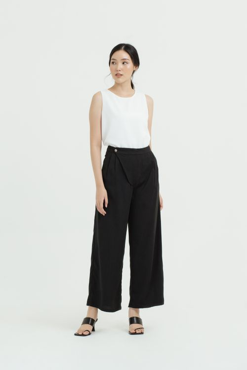CLOTH INC Overlap Front Maxi Pants in Black