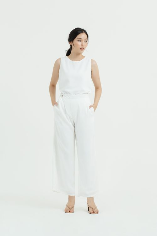 CLOTH INC Overlap Front Maxi Pants in White