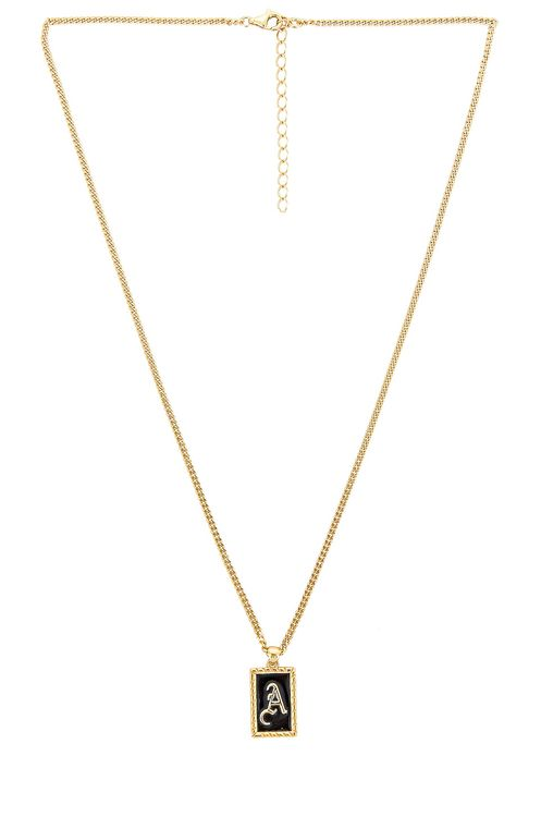 The M Jewelers NY Enamel Initial Pendant Necklace