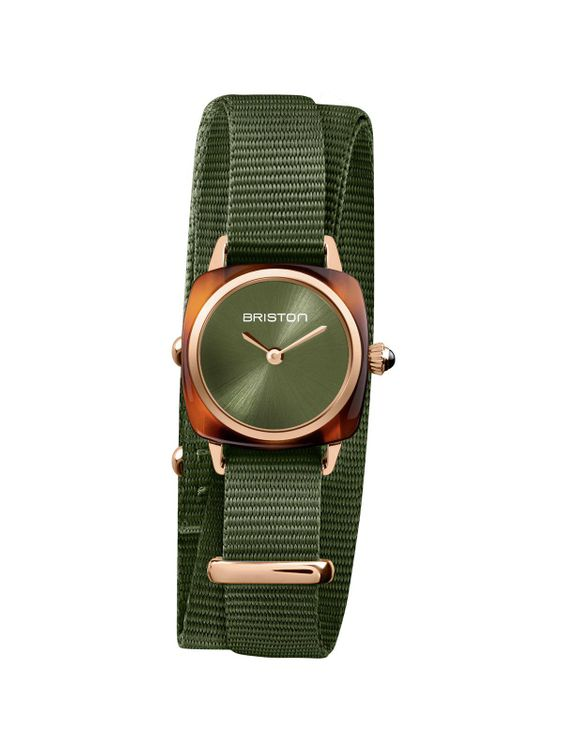 BRISTON Briston Clubmaster Lady Acetate HM Green Olive Sunray Dial Rose Gold Double Tour 24mm