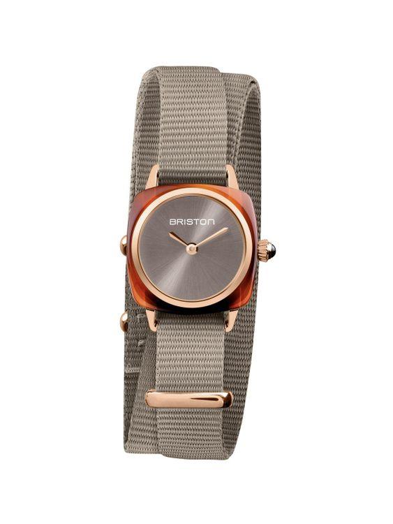 BRISTON Briston Clubmaster Lady Acetate HM Taupe Grey Sunray Dial Rose Gold Double Tour 24mm