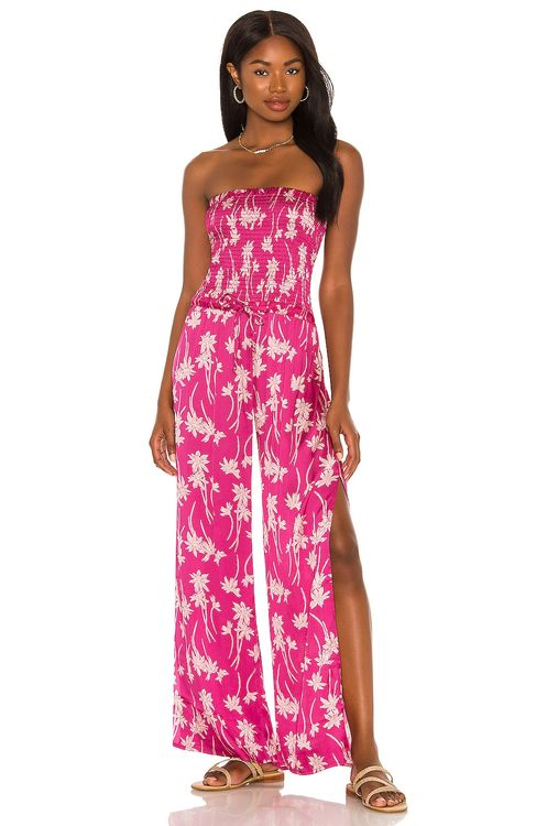 Chaser Silky Smocked Strapless Jumpsuit