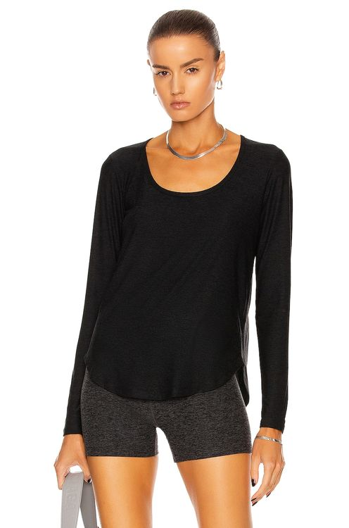 Beyond Yoga Scooped Long Sleeve Pullover Top