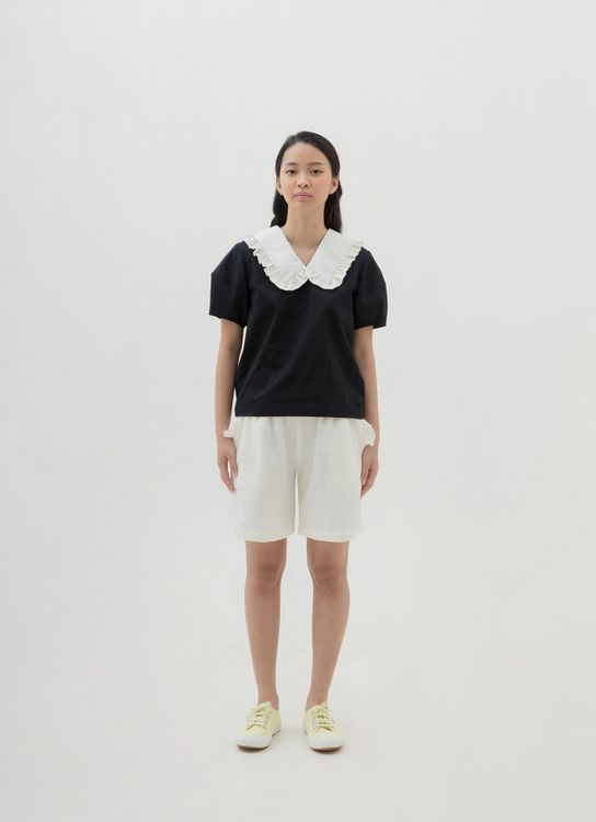 Argyle and Oxford Lamp Sleeve Top - Black