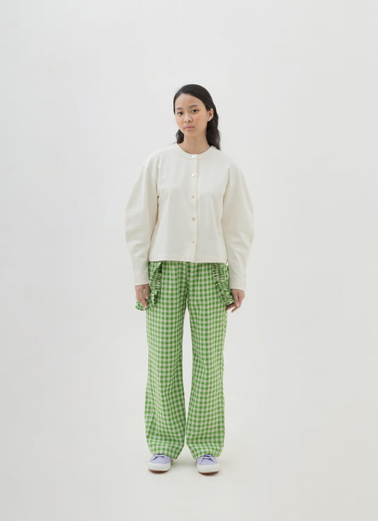Argyle and Oxford Cocoon Sleeve Cardigan - White