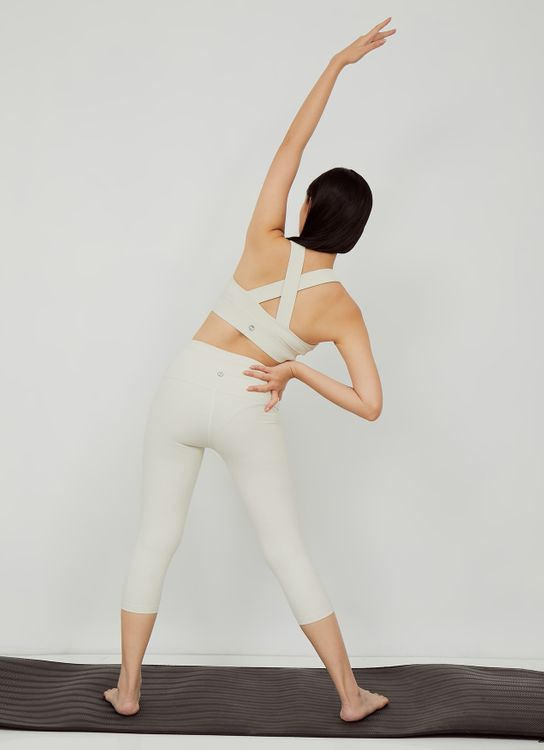 URBN ATHLETICA Contour Ribbed Bra in Ivory
