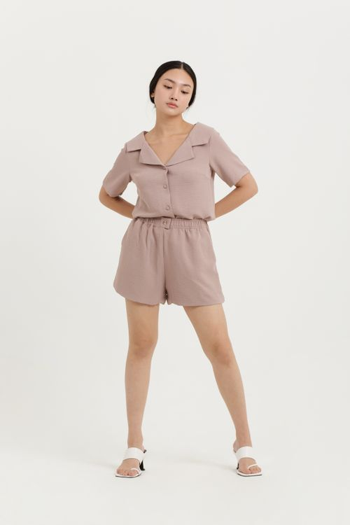 CLOTH INC Flowy Shorts in Rose Brown