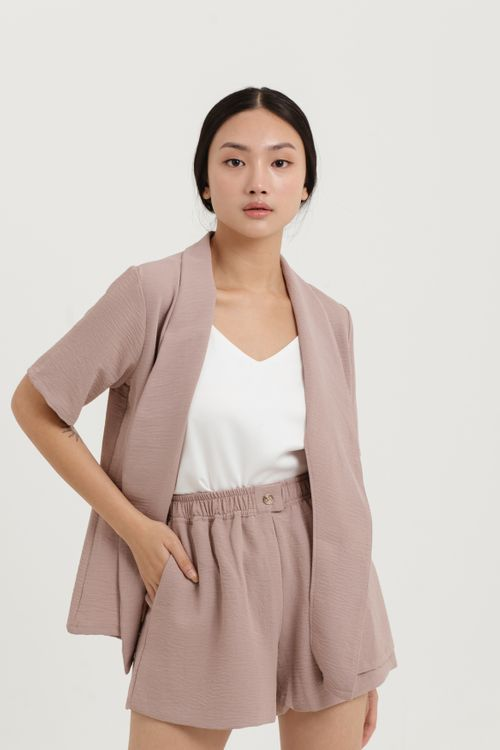 CLOTH INC Belted Short Sleeve Outer in Rose Brown