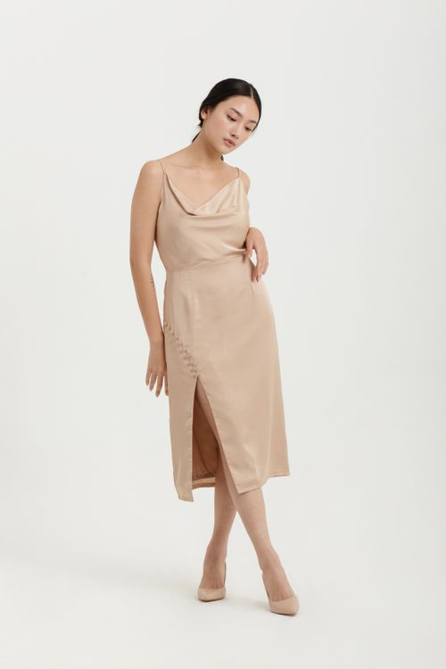 CLOTH INC Button Drapery Slit Dress in Gold