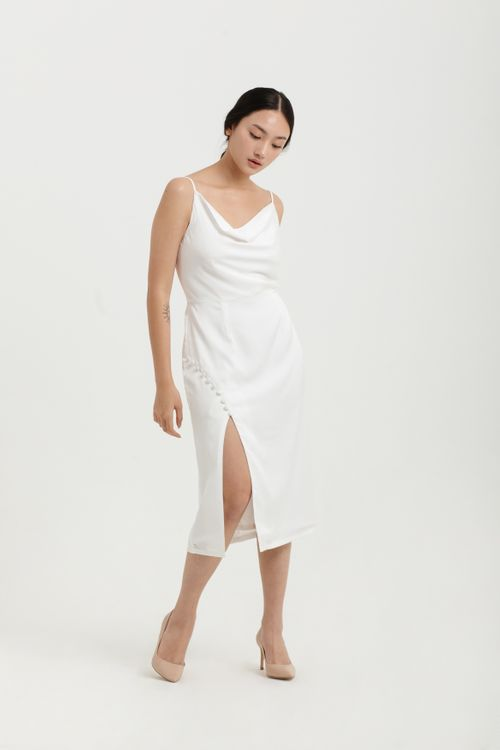 CLOTH INC Button Drapery Slit Dress in White