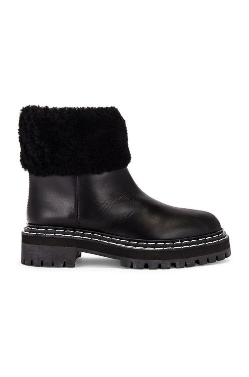 Proenza Schouler Lug Sole Shearling Ankle Boots